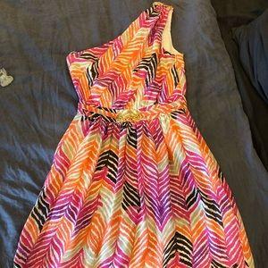One-shoulder Trina Turk Zig Zag Print Belted Dress